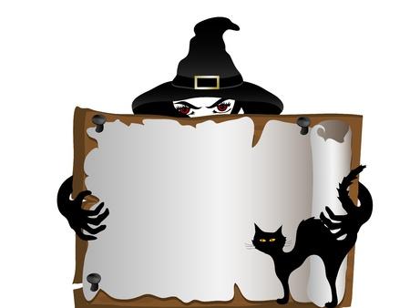 Quadro indicador de madeira ea bruxa na parte de tr Ilustração