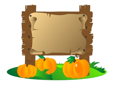Wooden signboard with the pumpkins Stock Illustratie