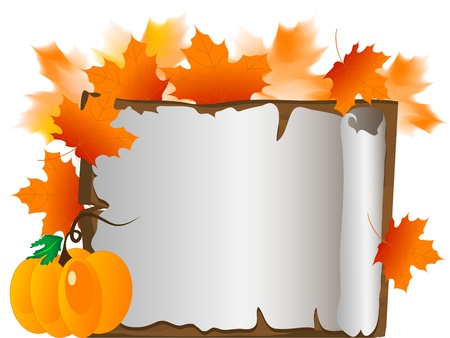 pumpkin border: Wooden signboard with leaves and pumpkin