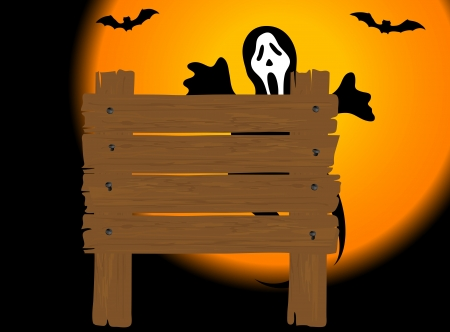 foe: Wooden signboard and the ghost at the back Illustration