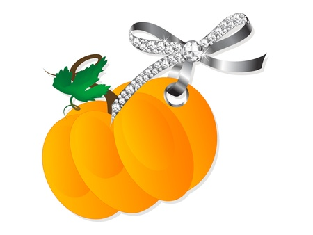 Orange pumpkin hanging on silver bow with diamonds Stock Vector - 15909972