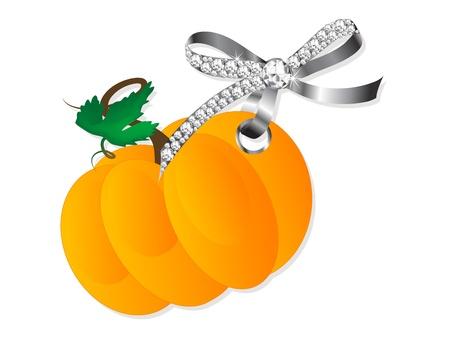brilliancy: Orange pumpkin hanging on silver bow with diamonds Illustration