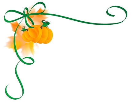 fall leaves border: Decorative corner with ribbon, pumpkins and leaves Illustration