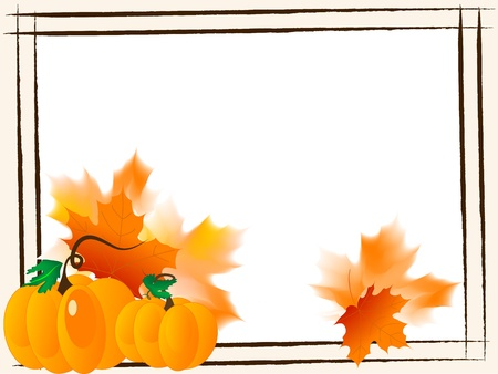 pumpkin border: Abstract frame with pumpkins and leaves Illustration