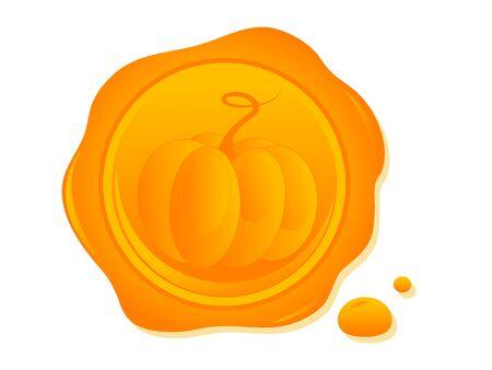 Orange wax seal with print of the pumpkin Stock Vector - 15909961
