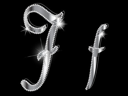 silver jewellery: Diamond letters on black background
