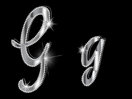 Diamond letters on black background Stock Vector - 16240714
