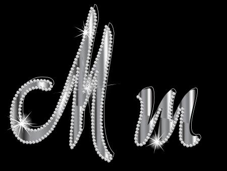 Diamond letters op zwarte achtergrond Stock Illustratie