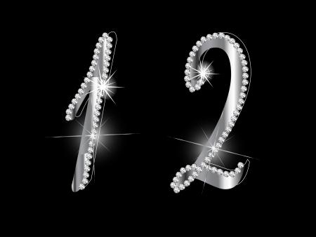 brilliancy: Diamond numbers on black background