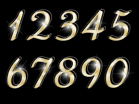 glittery: Golden numbers on black background Illustration