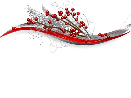 flashy: Red christmas berries and silver needles