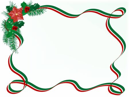 poinsettia: Christmas garland with red and green ribbon