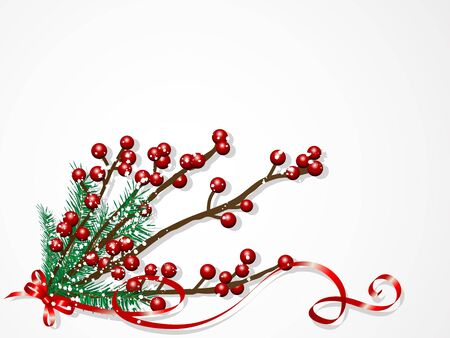 Red christmas berries and green needles Vector