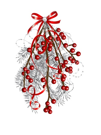 red glittery: Branch of red berries and silver needles Illustration