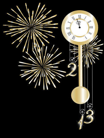 pf: New year clock in gold and black