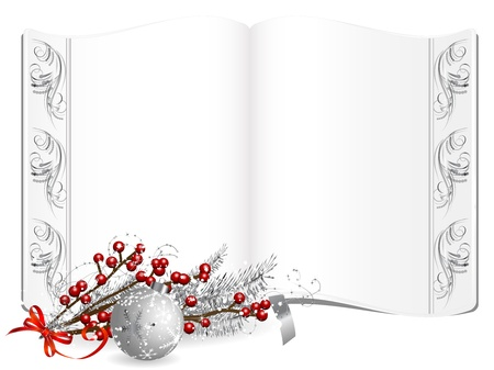 Open old book and silver mistletoe and berries Vector