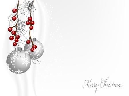 Zwei silberne Weihnachtskugeln mit Nadeln und Beeren Standard-Bild - 16444328