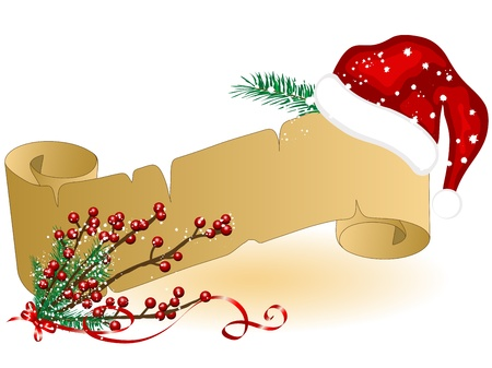Christmas parchment with Santas hat Vector