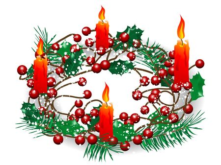 luminary: Christmas wreath with four red burning candles Illustration