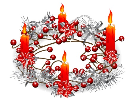 candlestand: Christmas wreath with four red burning candles Illustration