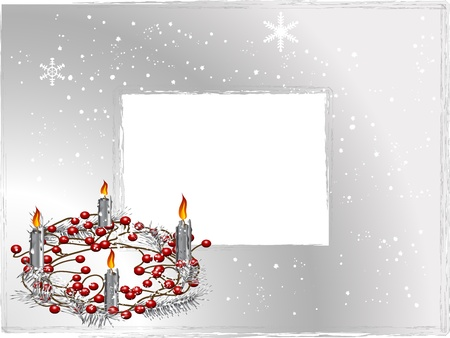Christmas wreath with four red burning candles Illustration
