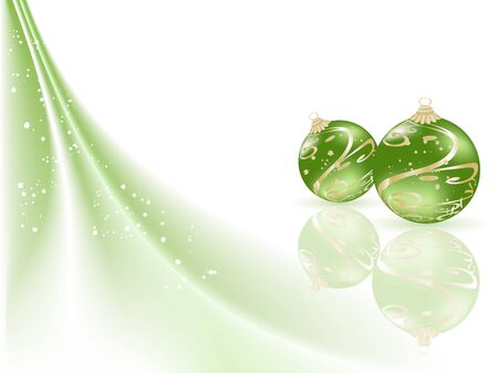 fantasize: Fondo verde de la Navidad con las bolas Vectores