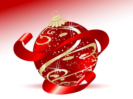luminary: Abstract christmas background with red ball