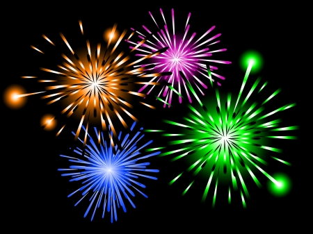 pf: Colored fireworks against black background