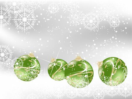 Green christmas background with balls