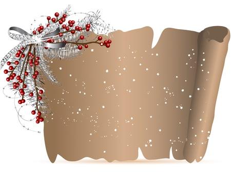 corona de adviento: Pergamino con la guirnalda de la Navidad