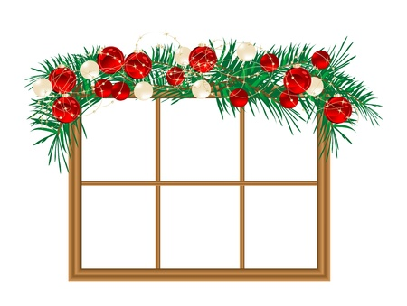 pf: Window with the christmas garland