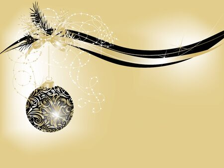 glittery: Abstract christmas background with black balls Illustration
