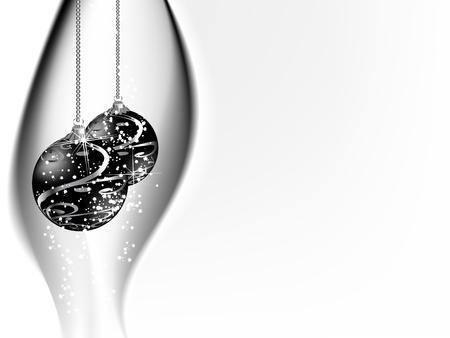 fantasize: Fondo blanco y negro con bolas de navidad Vectores