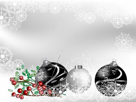 fantasize: Negro con bolas de navidad de fondo