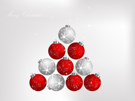 Red christmas background with balls Vector