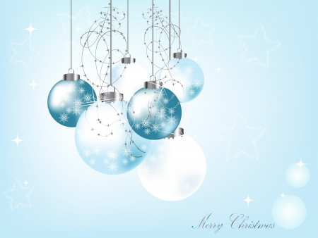 fantasize: Navidad azul de fondo con bolas Vectores