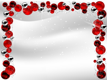luminary: Red christmas background with balls Illustration