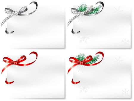 Four blank cards with silver and red bows Stock Vector - 16872791