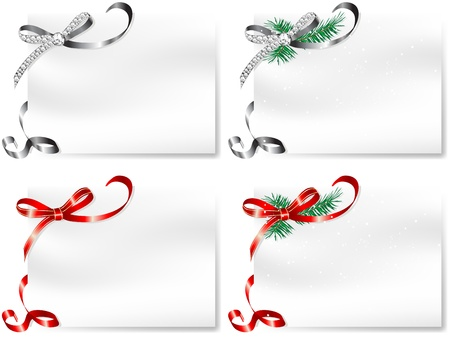 Four blank cards with silver and red bows Vector