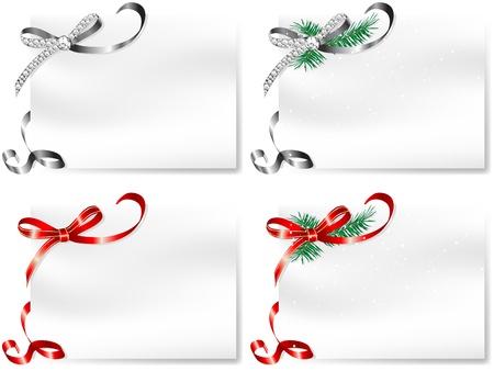 Vier leere Karten mit silbernen und roten Schleifen Standard-Bild - 16872793