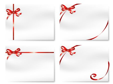 Four blank cards with  red bows Stock Vector - 16872787