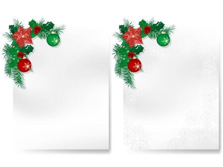 Two blank christmas cards with garlands Stock Vector - 16872794