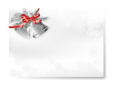 campanas navidad: En blanco tarjeta de Navidad con dos campanas de plata