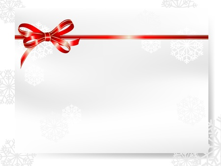 Blank card with  red bow and snowflakes Vector