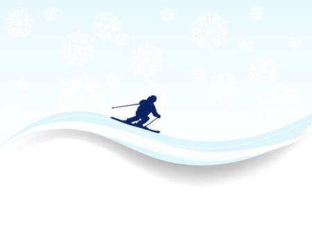 snowscene: Abstract winter background with skier and snowflakes Illustration