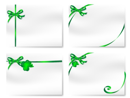 cloverleaves: Blank cards with green bows and cloverleaves Illustration