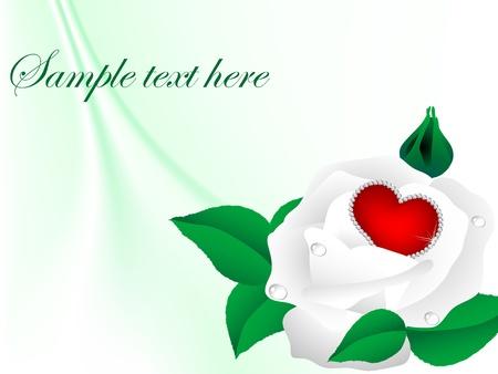 coeur diamant: Rouge diamant coeur en rose blanche fleur