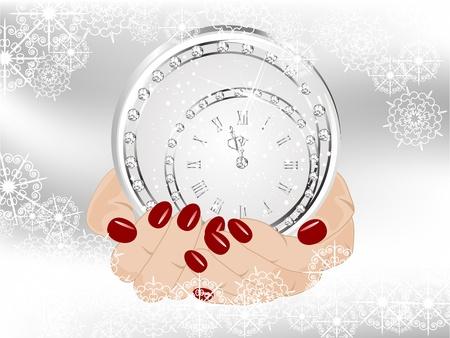 glitter ball: New year clock in snowy globe