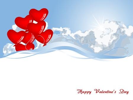 Red heart balloons against blue sky Stock Vector - 17019125