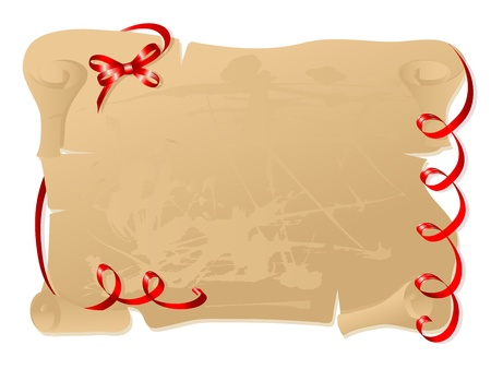 Old brown parchment with  red bows Vector